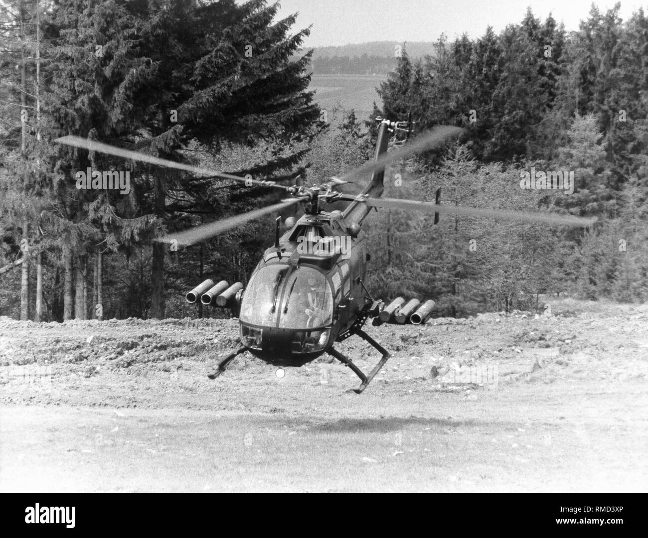 The helicopter Boelkoew Blohm Bo 105, armed with HOT antitank missiles. - Stock Image