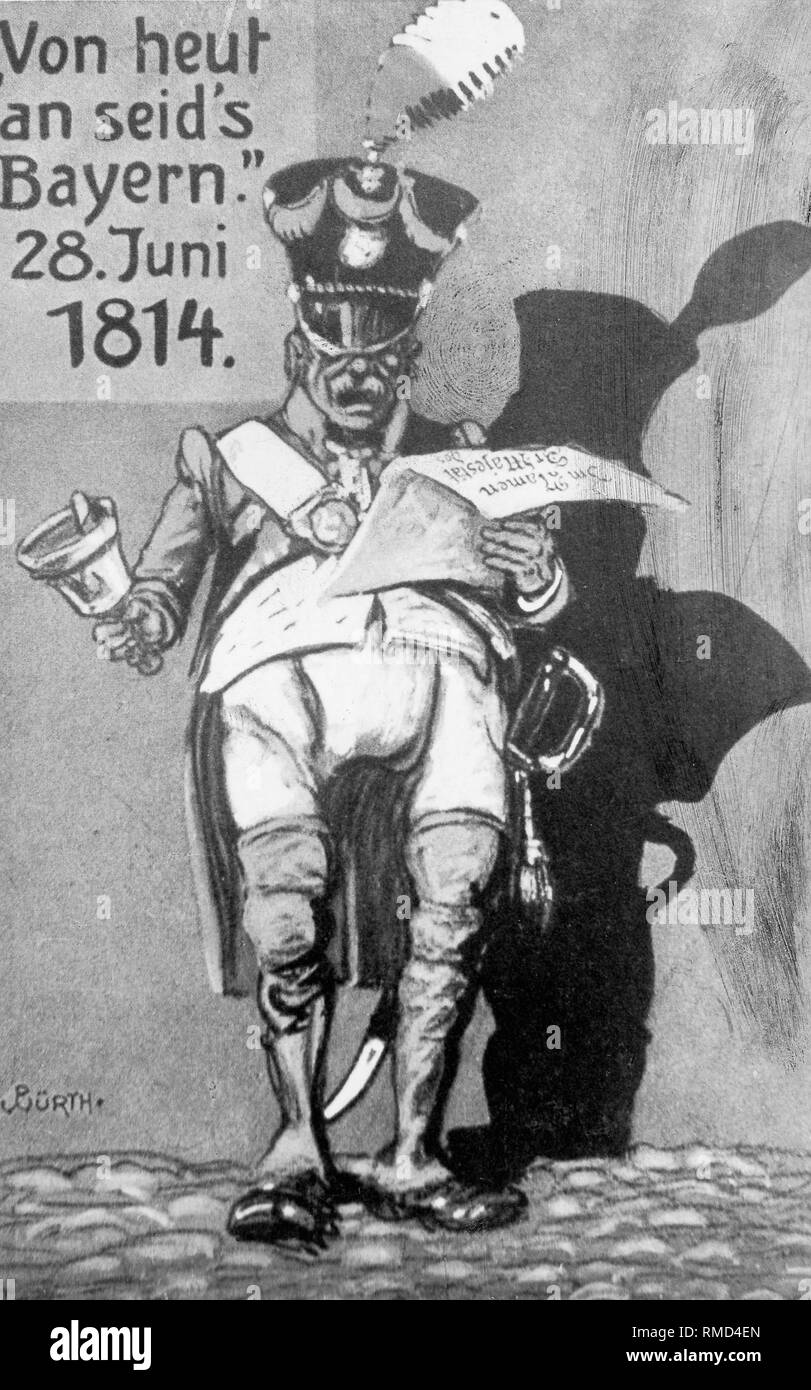 A satirical postcard from 1914 commemorates the 100th anniversary of Lower Franconia 's belonging to Bavaria: A civil servant with a bell in his hand announces 'In the name of Her Majesty: From today on, you are Bavaria!'(28.06.1814) - Stock Image