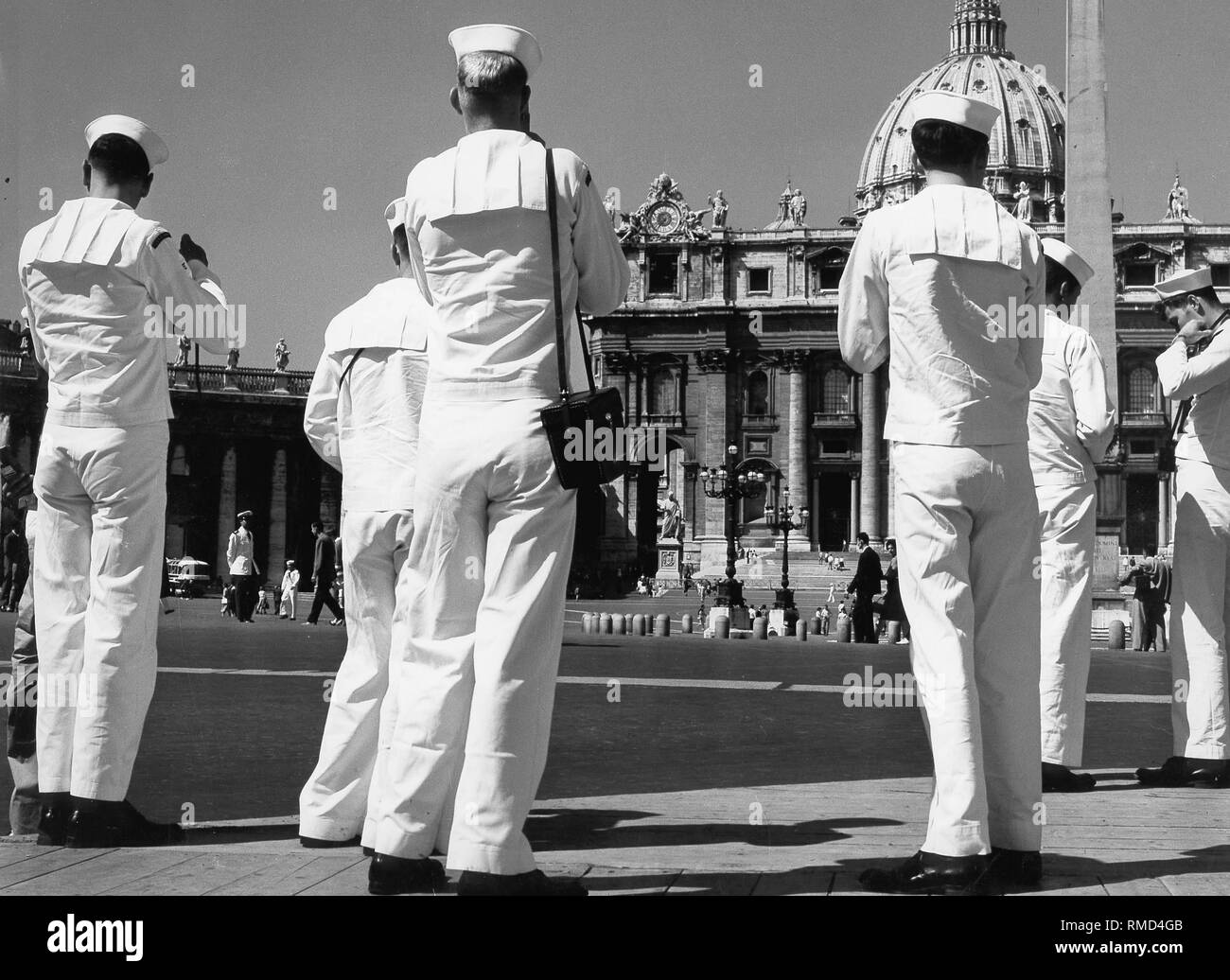 Sailors visit St. Peter's Square, which is now closed to cars. - Stock Image