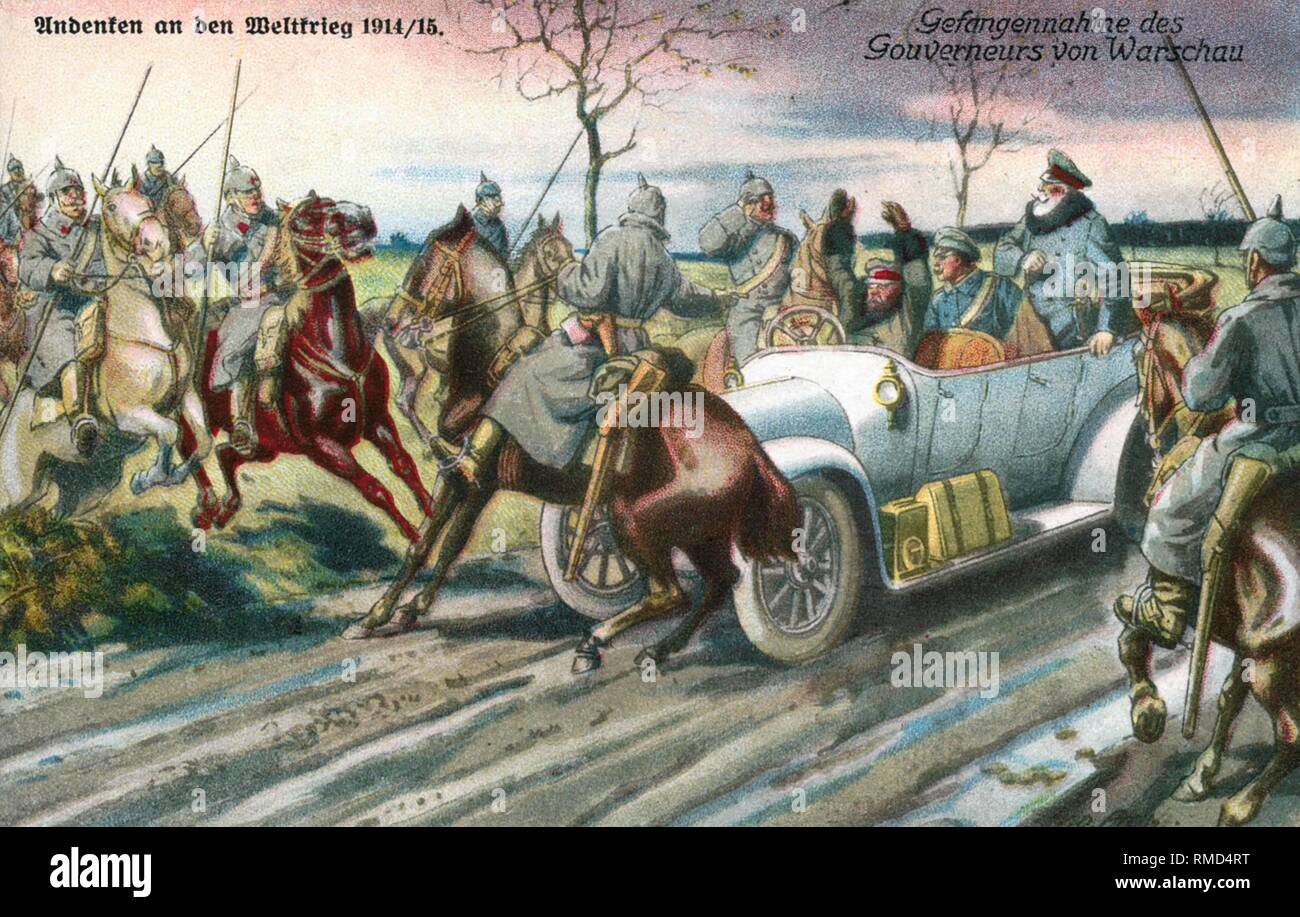 A contemporary postcard illustrates the capture of the Russian governor of Warsaw. - Stock Image