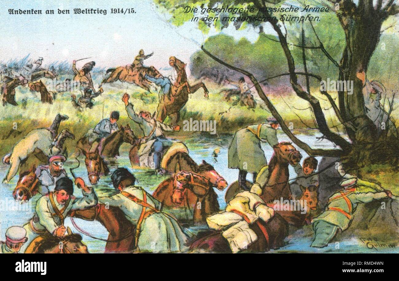 Russian cavalry at the retreat in the Masurian marshes. Contemporary postcard. - Stock Image