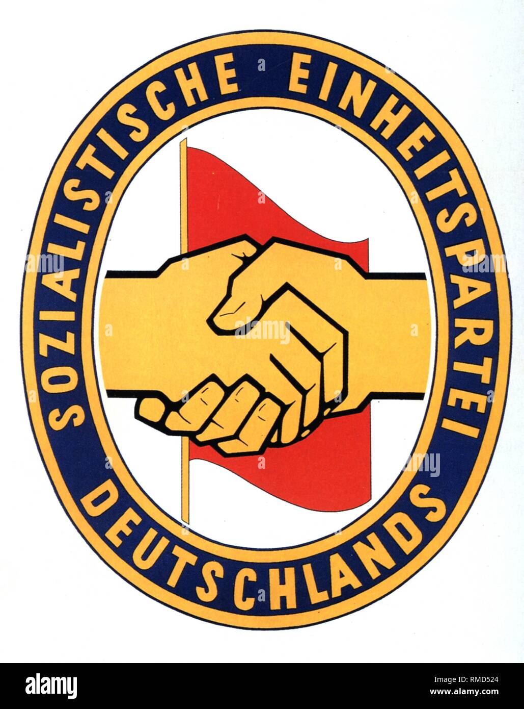 Emblem of the Socialist Unity Party of Germany (SED) of the GDR. - Stock Image