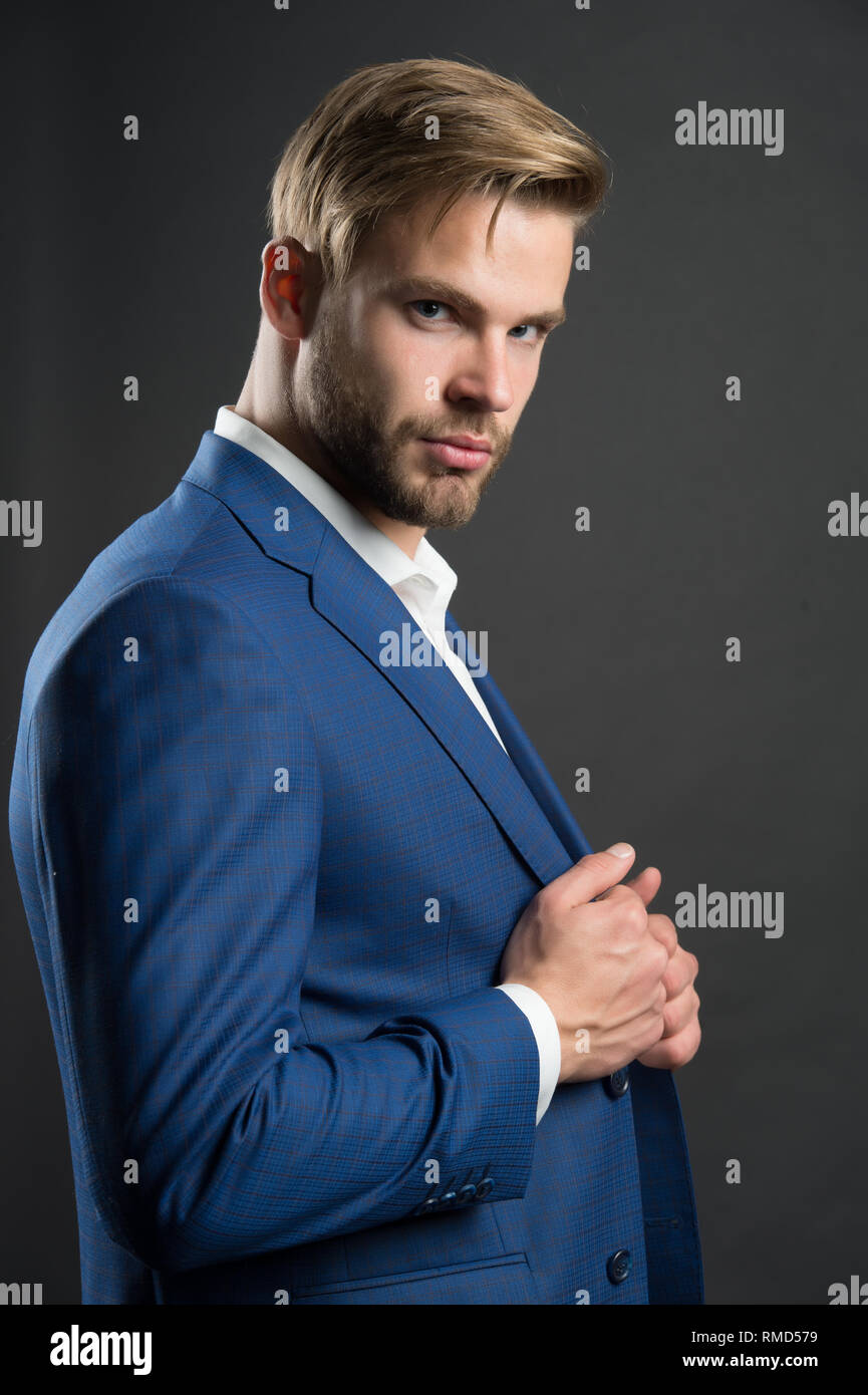 Most businesses explicit saying dress code professional attire no second guessing. Man well groomed attractive formal suit dark background. Check out my outfit. Business dress code. Guy formal outfit. - Stock Image