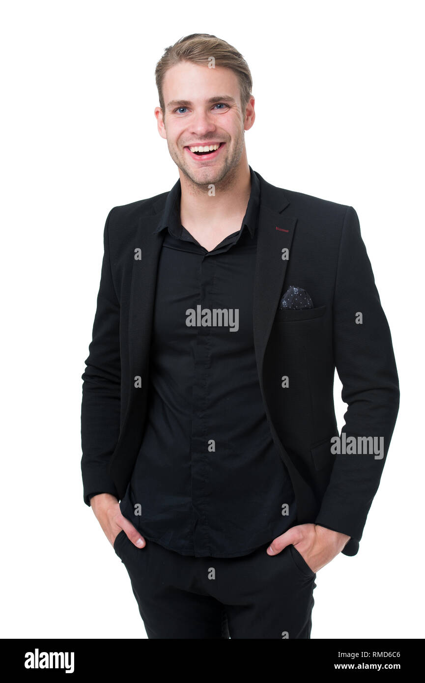 122492abfd Business dress code. Man happy formal black suit white background. Business  casual. Casual look made for professional environment.