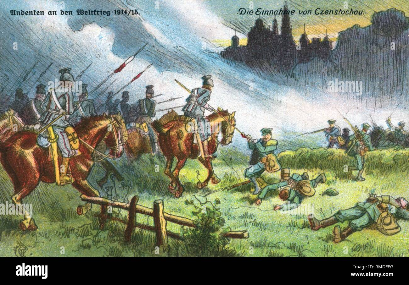 Cavalry attacking Russian infantry in the fights for Czestochowa. Contemporary postcard. - Stock Image