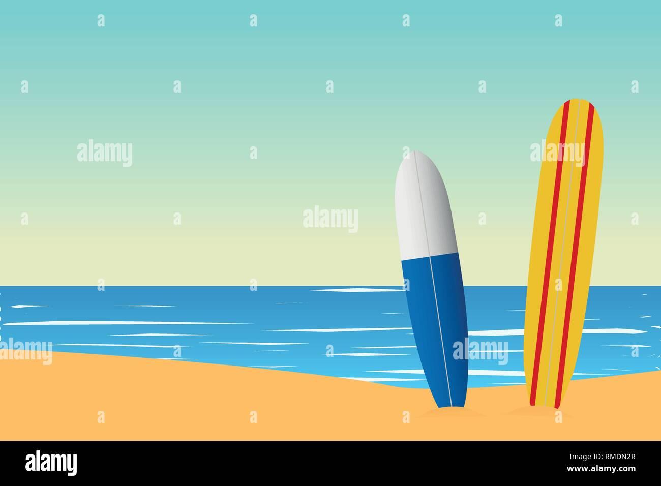 Tropical landscape. Seascape. Summer background. Surfing board. Flat style illustration. Vector illustration - Stock Vector