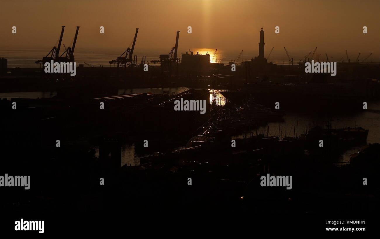 Sunset seen from Spianata Castelletto, Genoa, Lombardia, Italy - Stock Image
