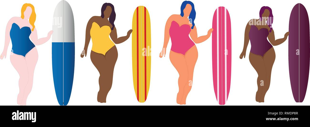 Collection of girls with surfing boards. Flat style illustration. Vector illustration - Stock Vector