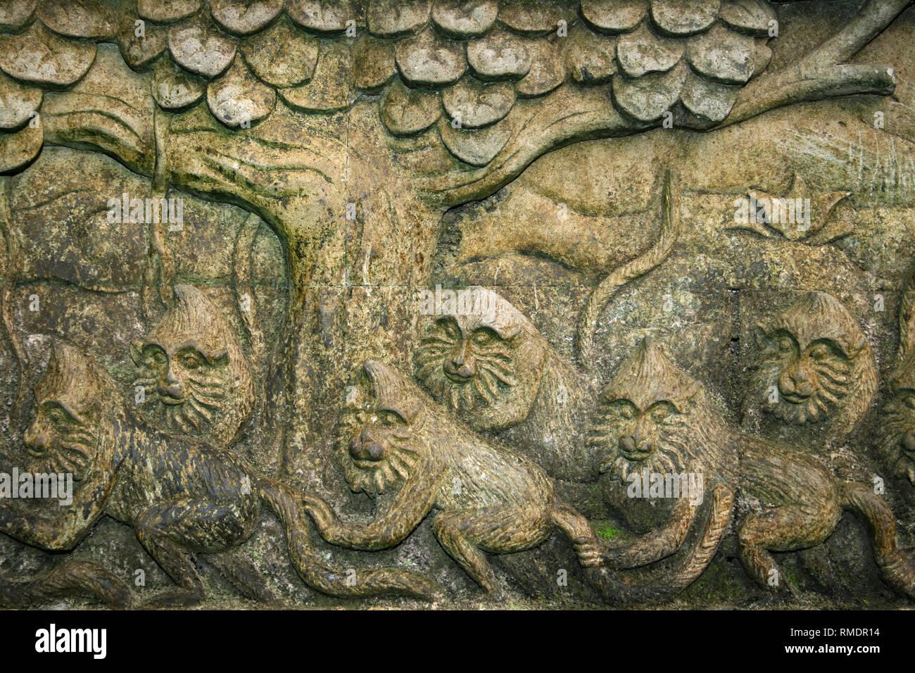 Stone Frieze in Monkey Forest Sanctuary, Ubud, Bali - Stock Image