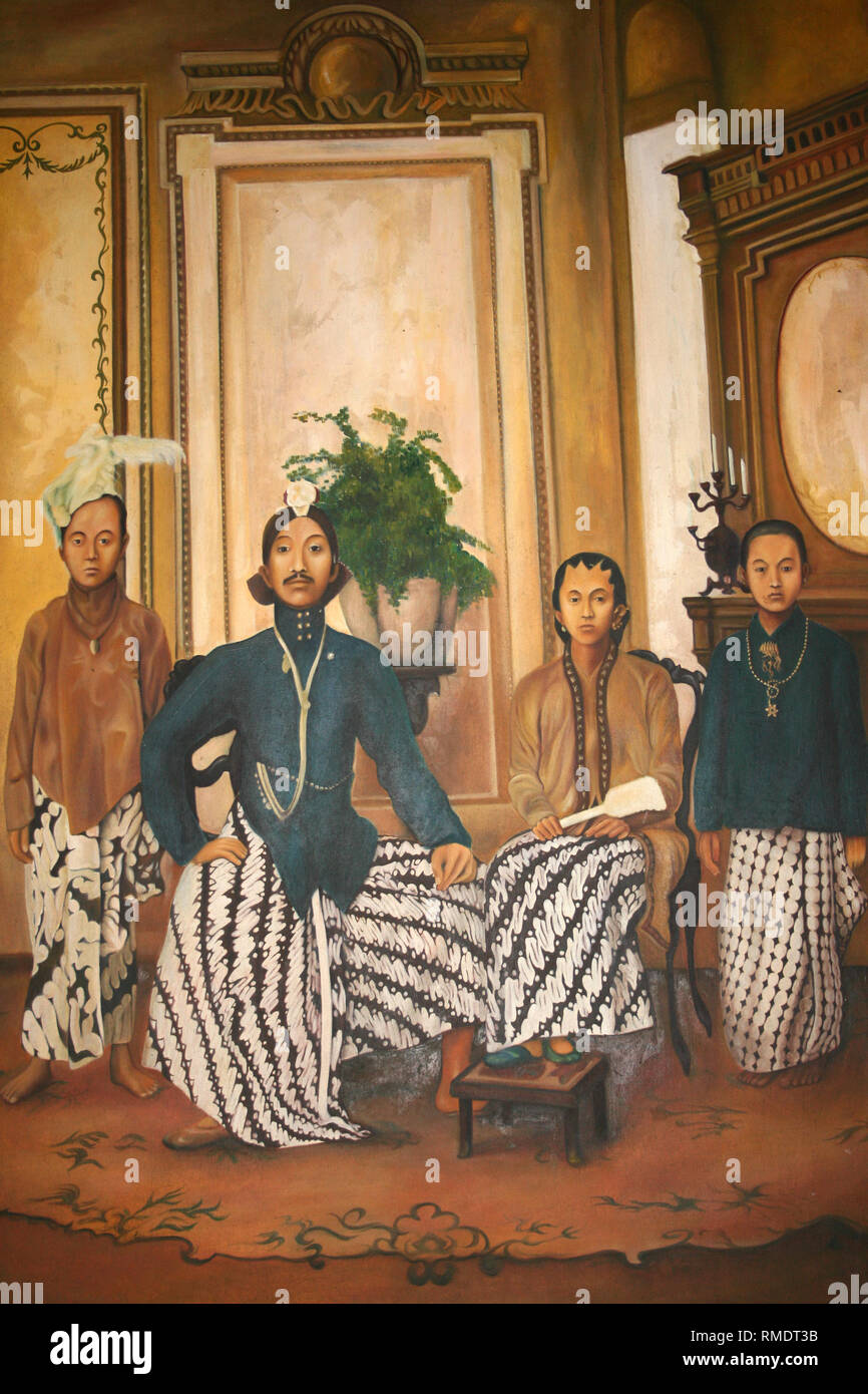 Old Painting Showing Family Group Showing Men Wearing Javanese Beskap Traditional Attire - Stock Image
