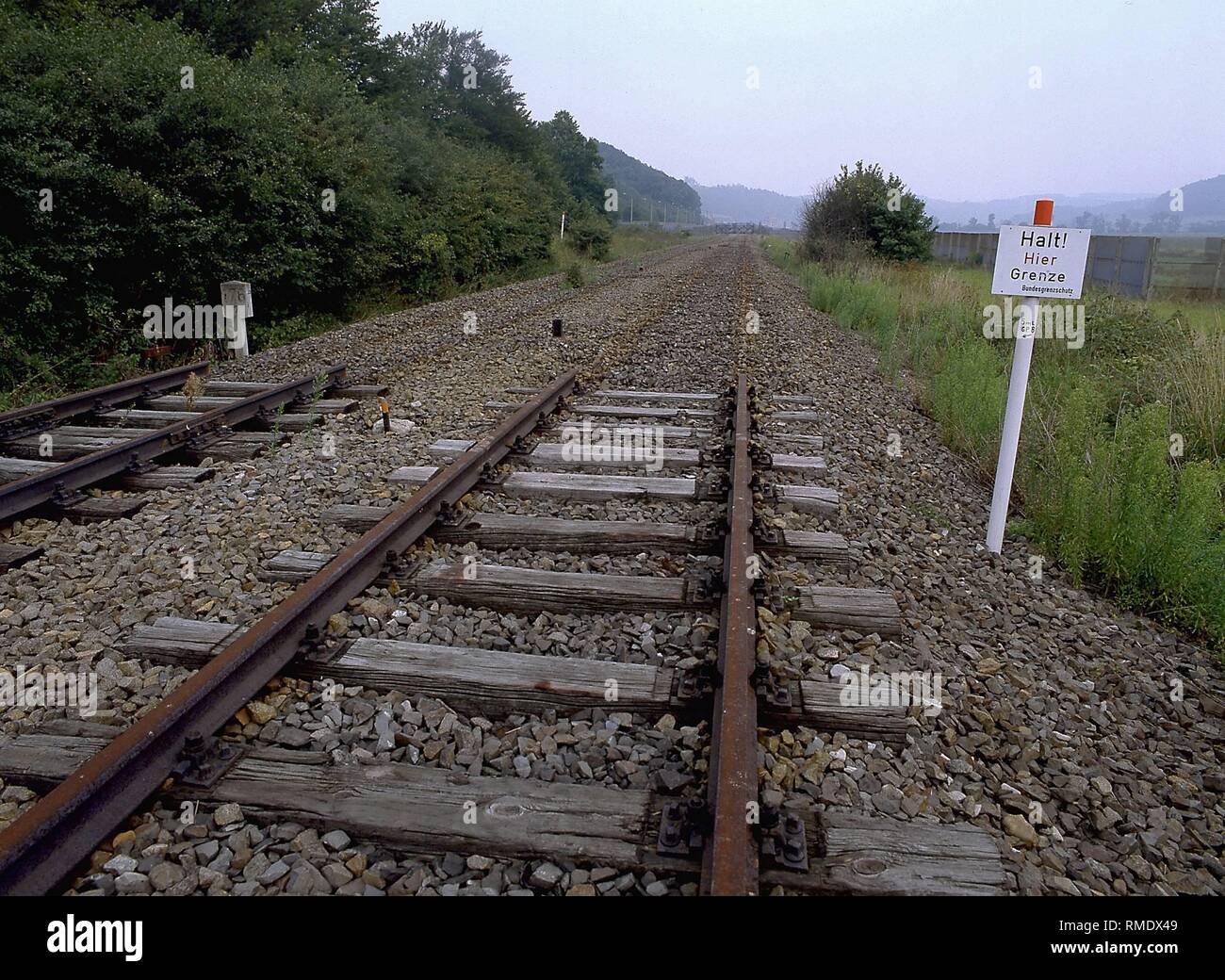Dismantled railway line at Herleshausen / Wommen in Hesse. - Stock Image