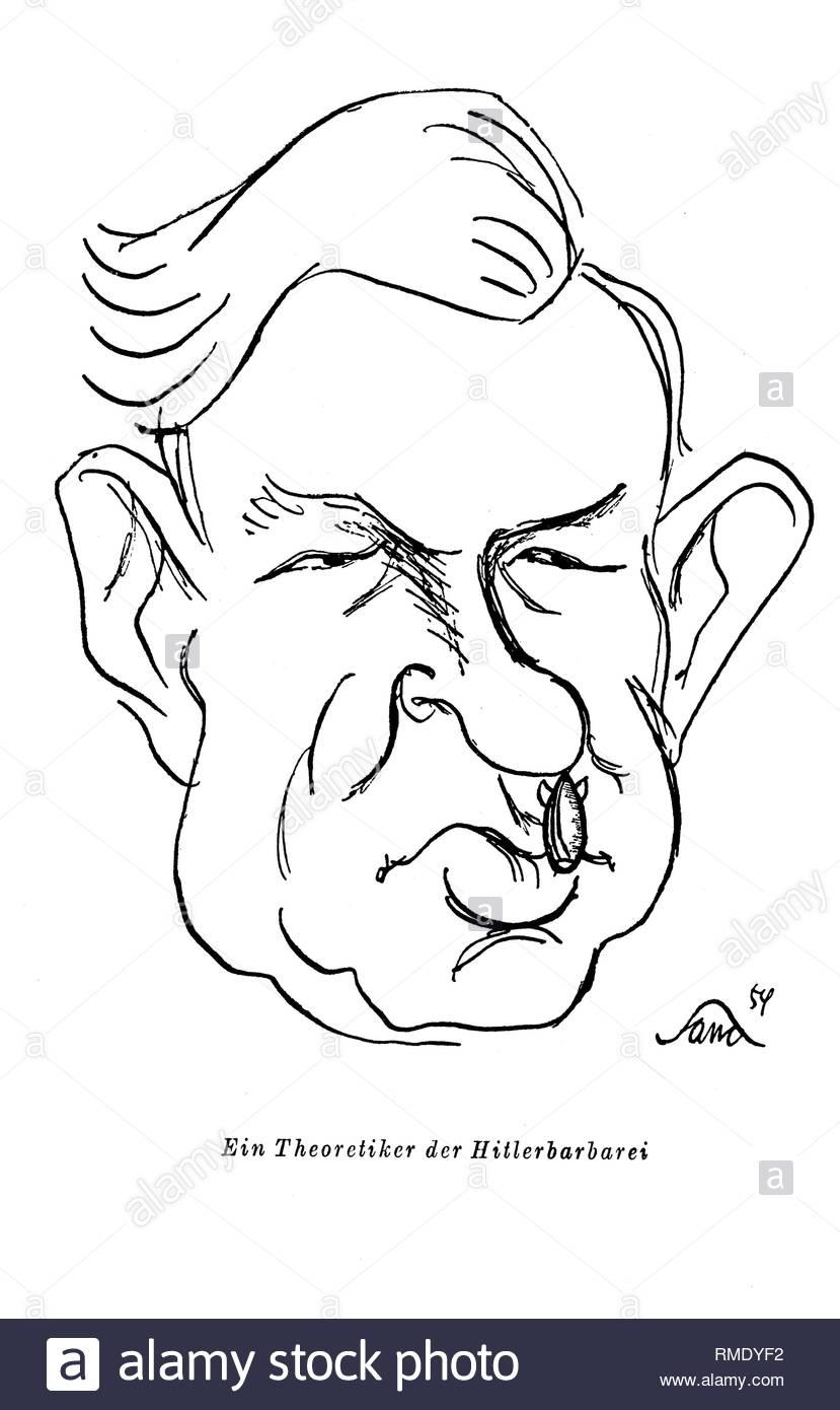Black white graphics Wilhelm Grewe 'A theorist of Hitler's barbarism' of the GDR artist Professor Herbert Sandberg in Berlin, the former capital of the GDR, German Democratic Republic. Foto: Herbert Sandberg - Stock Image