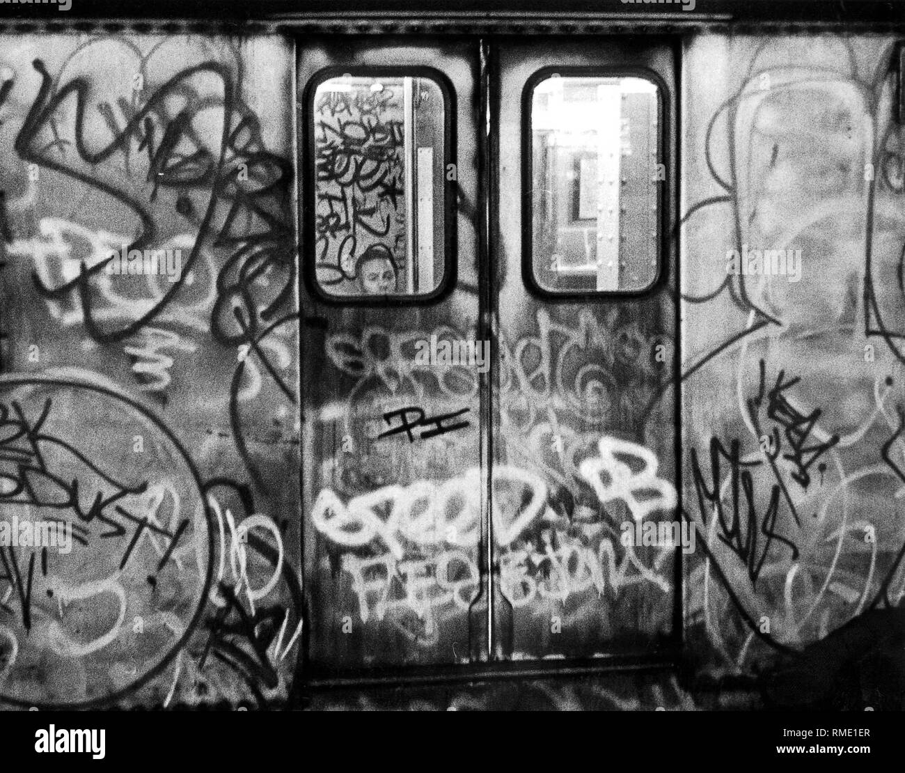 Subway in New York City. photo from the 80s. - Stock Image