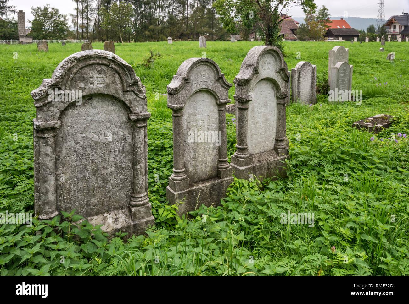 Jewish cemetery in Nowy Sacz, Malopolska, Poland - Stock Image