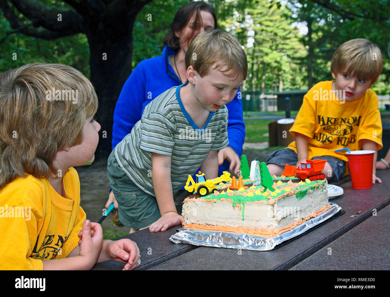 4 Year Old Boys Birthday Cake Truck Decorations Party Picnic Celebration Outdoors Dessert Fun Sweet Treat Food Summer Horizontal MR