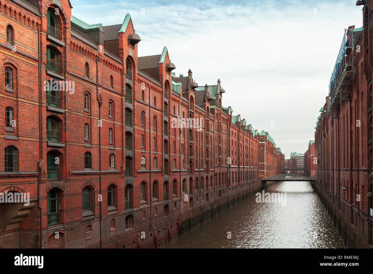 Speicherstadt, warehouse district in Hamburg, Germany, the largest warehouse district in the world where the buildings stand on timber-pile foundation Stock Photo