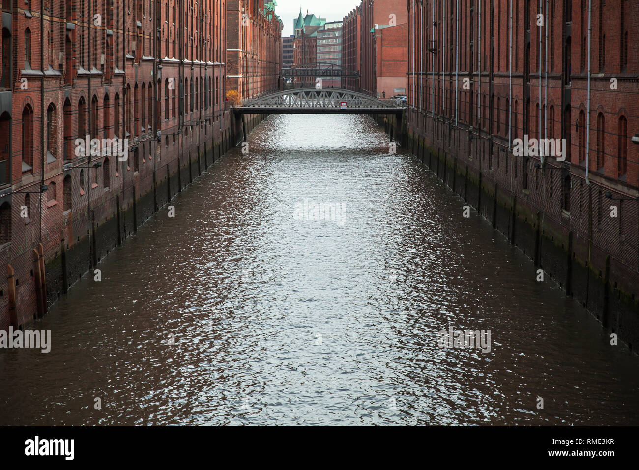 Brooksfleet canal. The Speicherstadt, warehouse district in Hamburg, Germany, the largest warehouse district in the world where the buildings stand on Stock Photo