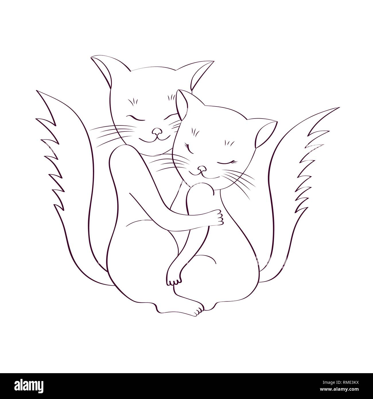 Cats are hugging sketch on white background