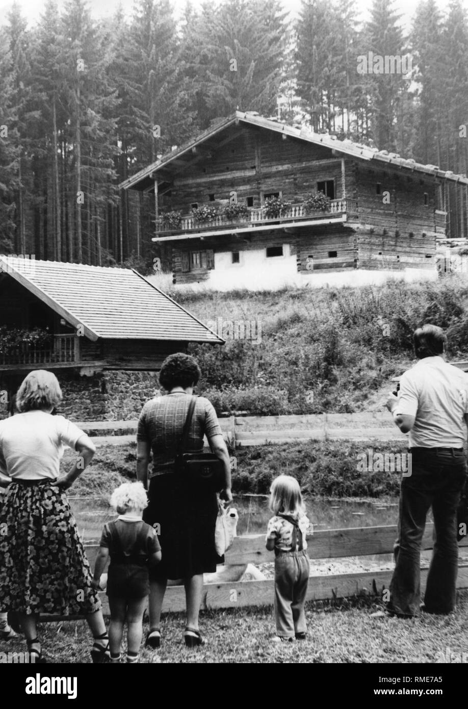 Bavarian Forest - the Tittling open-air museum in the Bavarian Forest. The building was built in 1664 and used for a long time as a school building. From Simbach, it was transferred to Tittling. - Stock Image