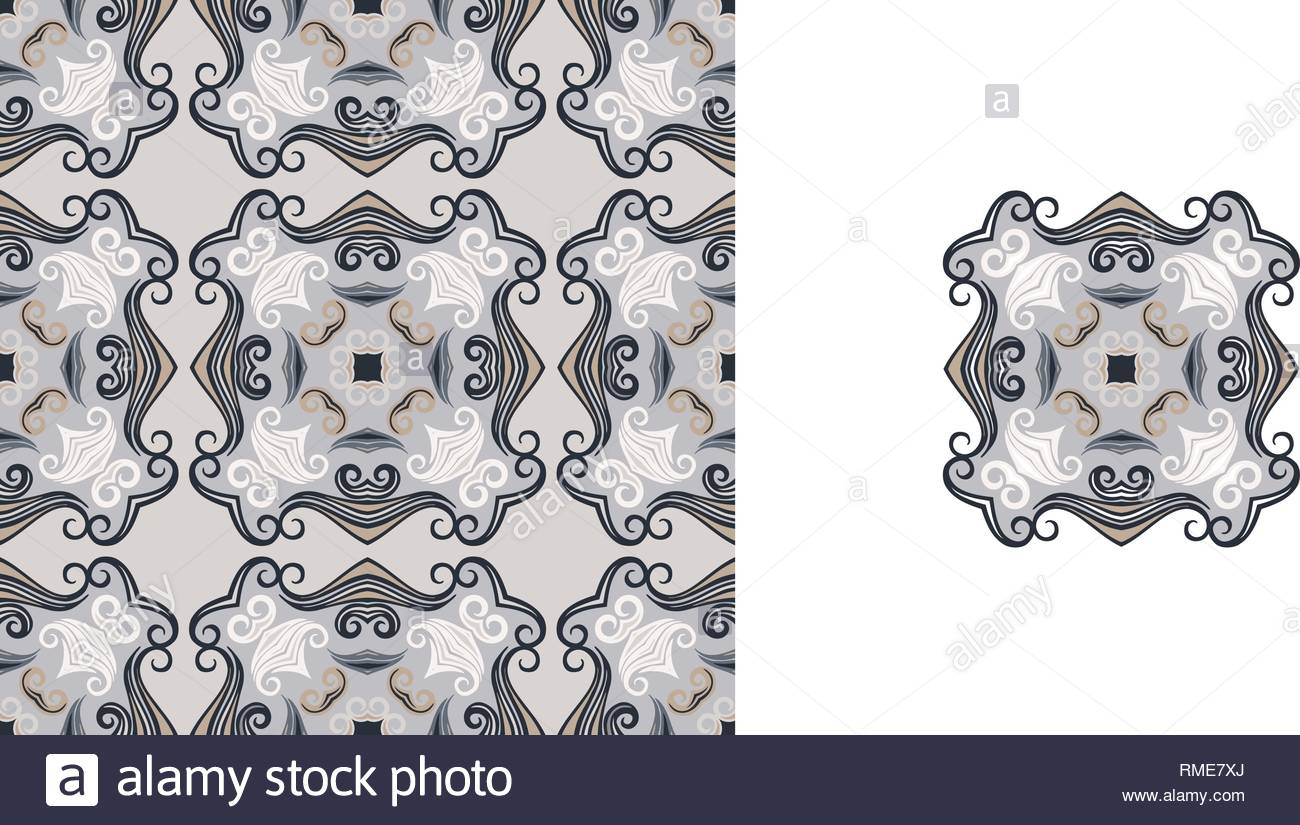 Ornate decorative tiles. Abstract background. Vector illustration. Ceramic tiles. - Stock Vector
