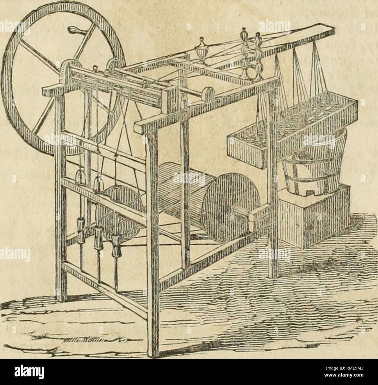 . Annual catalogue of the New England Agricultural Warehouse and Seed Store, connected with the New England Farmer Office, No. 51 & 52 North Market Street, Boston. Garden Seeds, fyc. 73 BROOKS'S PATENT SILK SPINNING MACHINE.. Brooks's silk spinning and reeling machine, is found to be a very simple and easy operating machine, and yet one of the most per- fect that has been invented for the purpose of reeling and twisting silk from the cocoons, and manufacturing it into sewing silk. -By the different arrangements of this machine, it will operate upon a single or double thread, as may be requ - Stock Image