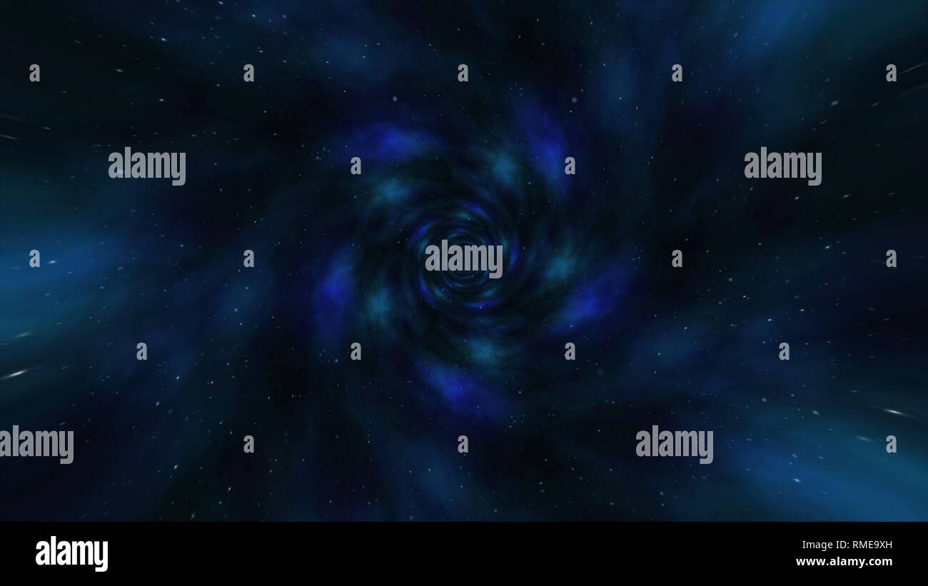 Flying through black hole tunnel,power energy release,spectacular science fiction scene. Loop animation with wormhole interstellar travel through a - Stock Image