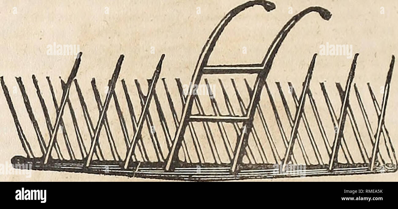 . Annual catalogue of the New England Agricultural Warehouse and Seed Store, connected with the New England Farmer Office, No. 51 & 52 North Market Street, Boston. 58 J. Breck §• Co.'s Catalogue of COMMON HORSE RAKE.. The great objection to this Rake is in having to stop the horse to unload, when a sufficient quantity of Hay is collected for a winrow, it taking at least three times as long to unload as it does to load, and although this Rake cosls much less in the first place than the Revolving Rake, it is much the dearest article in the end. HALL'S HAND RAKE. These Rakes are mnde superior Stock Photo