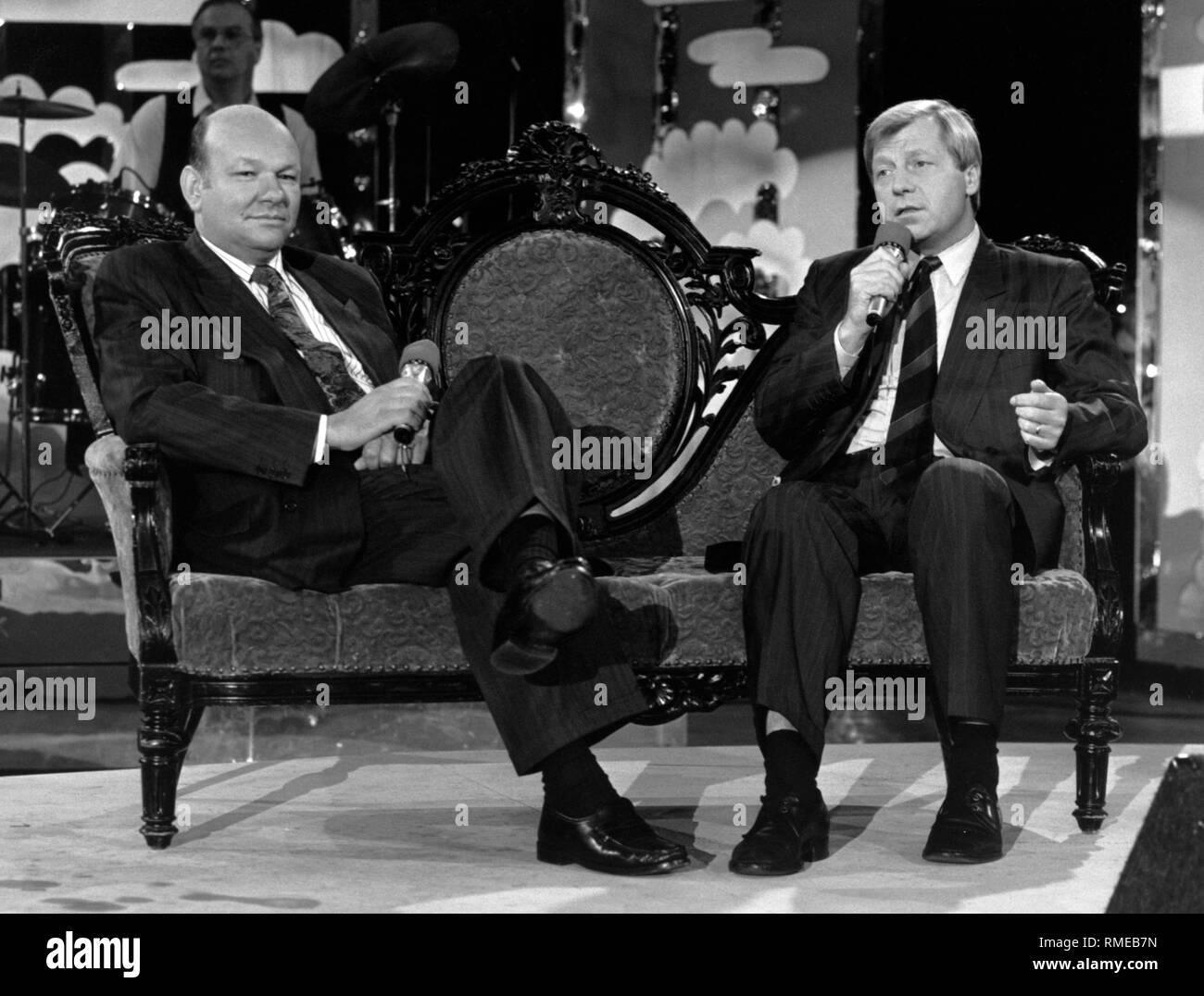 Walter Momper and Eberhard Diepgen on a talk show. - Stock Image
