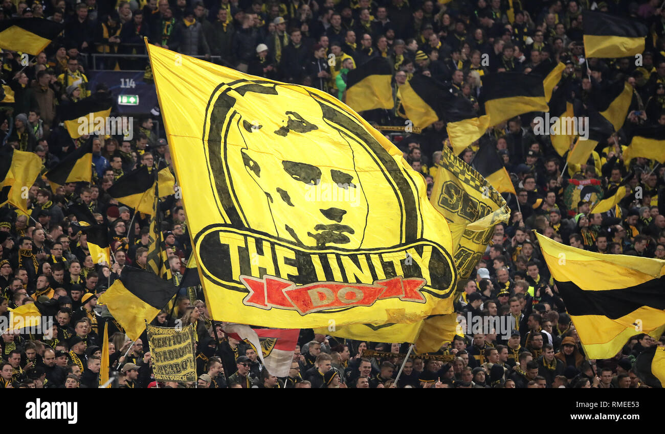Borussia Dortmund Fans Wave Flags During The Day Stock Photo Alamy