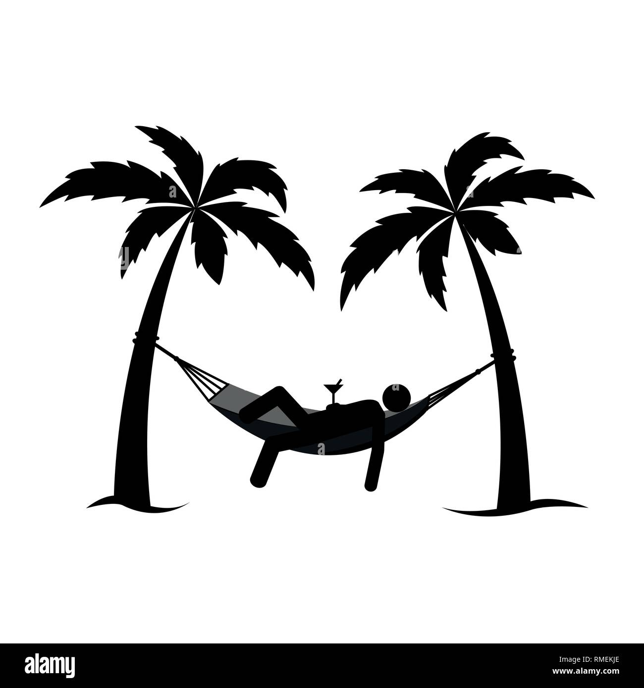 man in a hammock between palms pictogram vector illustration EPS10 - Stock Image