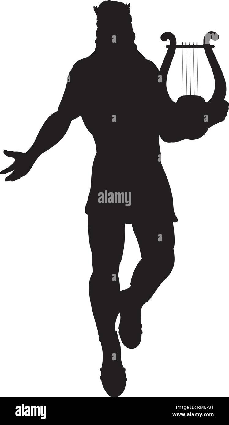 God Apollon lyre silhouette ancient mythology fantasy. - Stock Vector