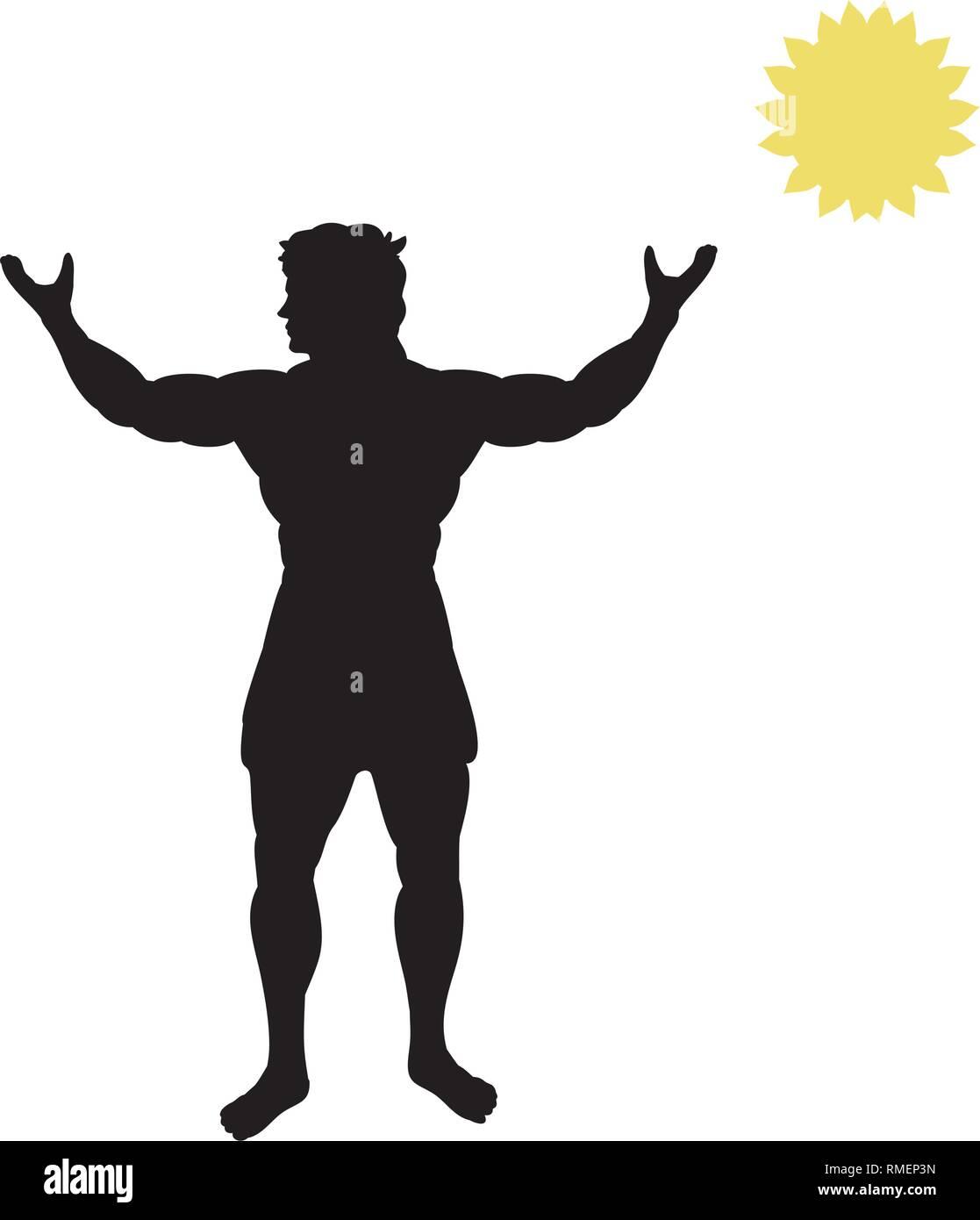 God light Apollon silhouette ancient mythology fantasy - Stock Vector