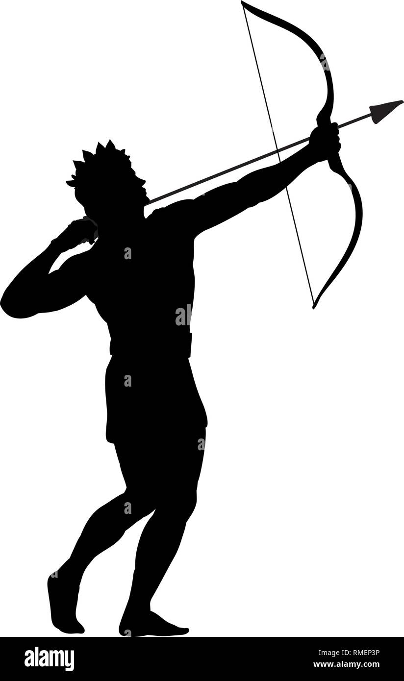 God Apollon archer silhouette ancient mythology fantasy - Stock Vector