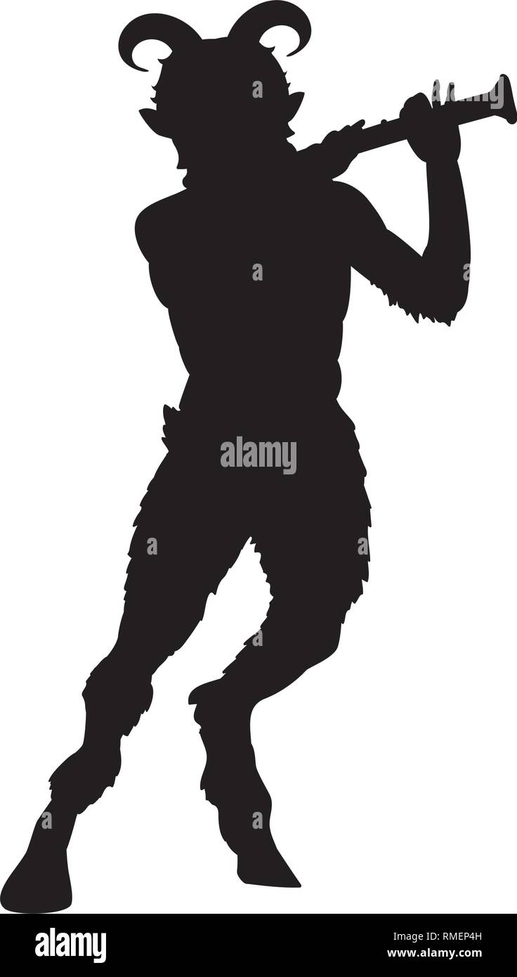 Satyr Faun flute game silhouette ancient mythology fantasy.  - Stock Vector