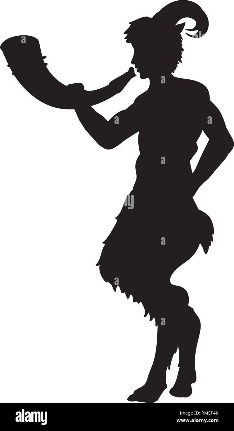 Faun Satyr blowing into horn silhouette ancient mythology fantasy - Stock Vector
