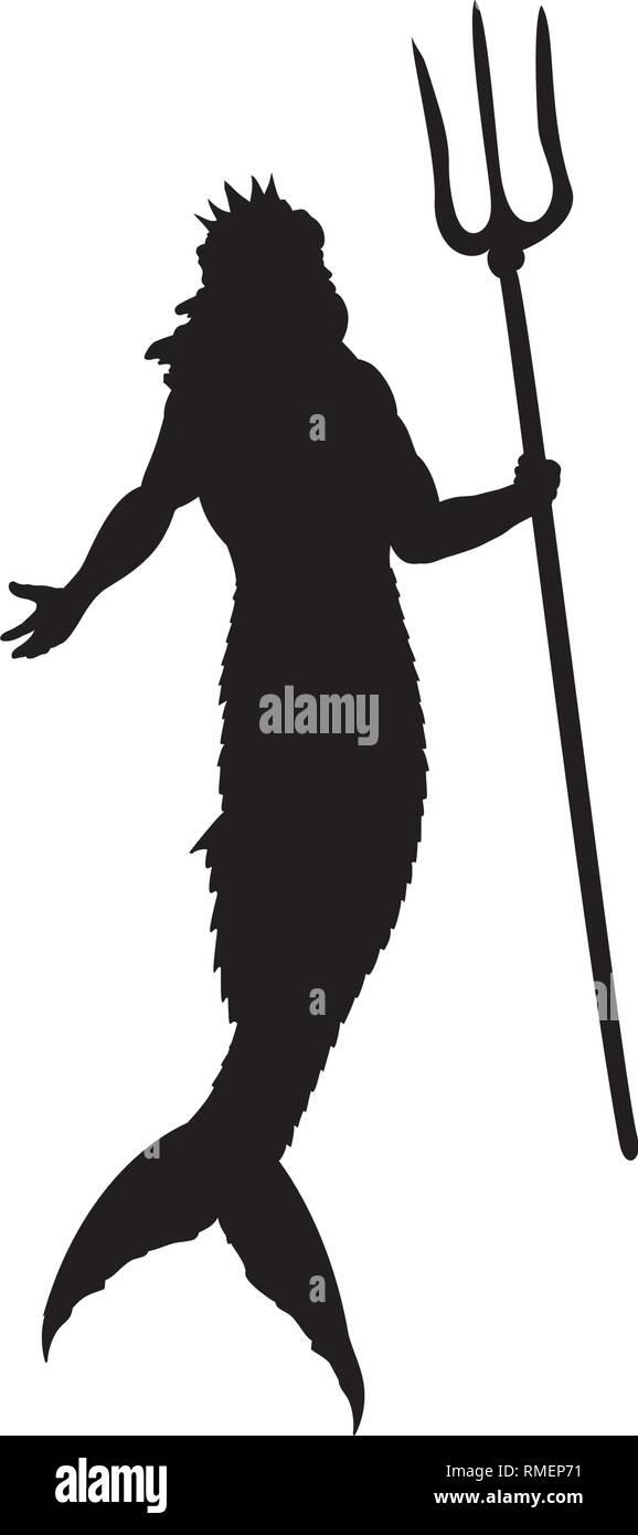 Poseidon Neptune god silhouette mythology fantasy - Stock Vector