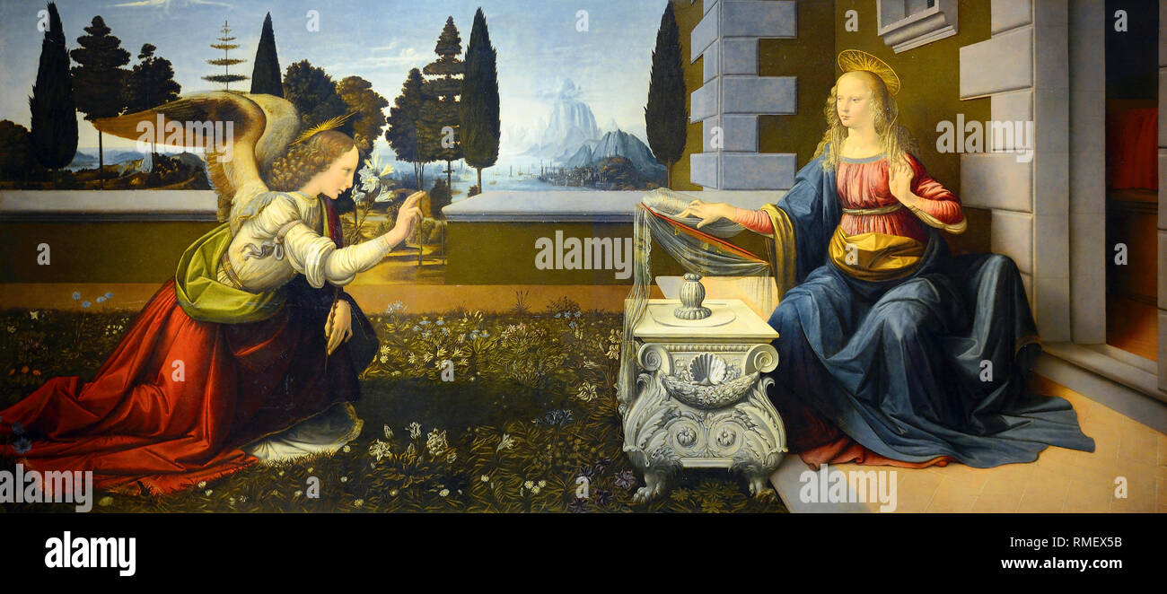 Leonardo da Vinci, The Annunciation, painting c.1472 - Stock Image