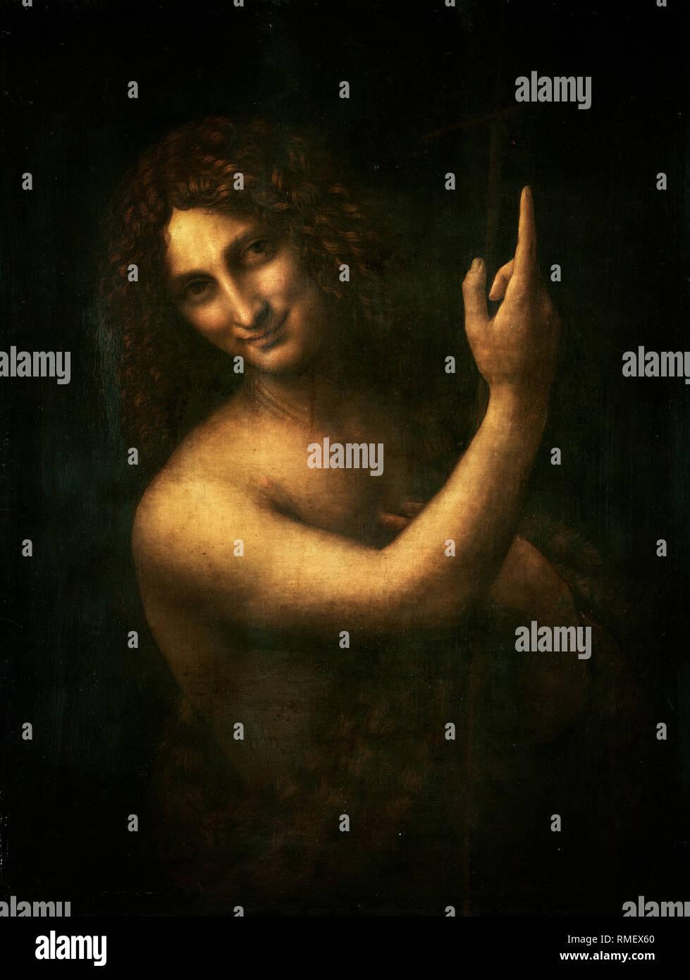 Leonardo da Vinci, Saint John the Baptist, painting c.1508 - Stock Image