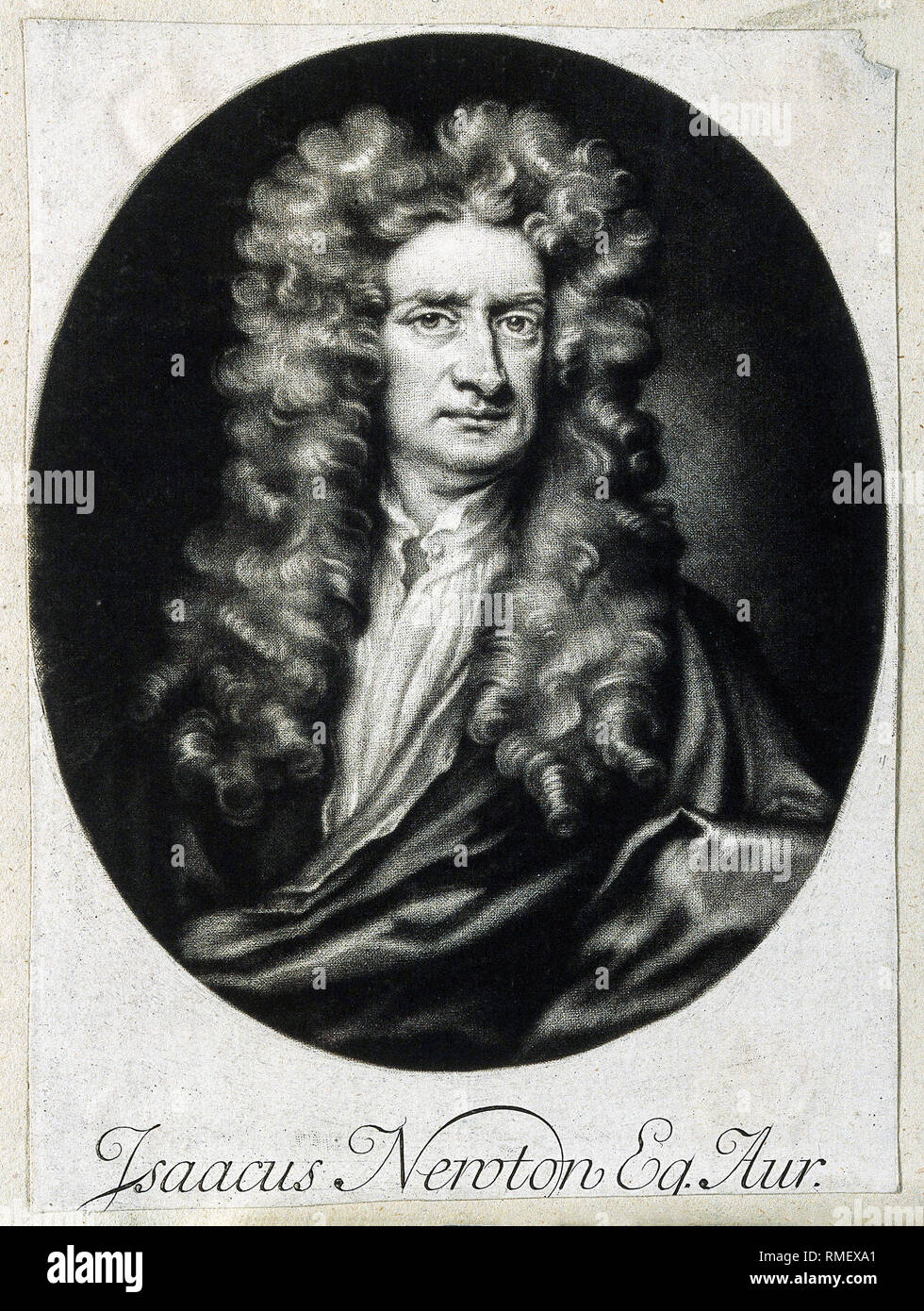 Sir Isaac Newton, Mezzotint after J. Smith, 1712, after Sir Godfrey Kneller, 1702, portrait, print - Stock Image