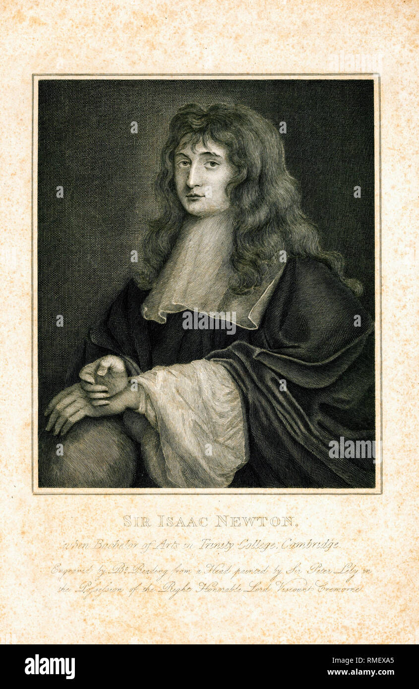 Portrait of Isaac Newton (1642-1727) as a student, engraving by Burnet Reading, 1799 - Stock Image