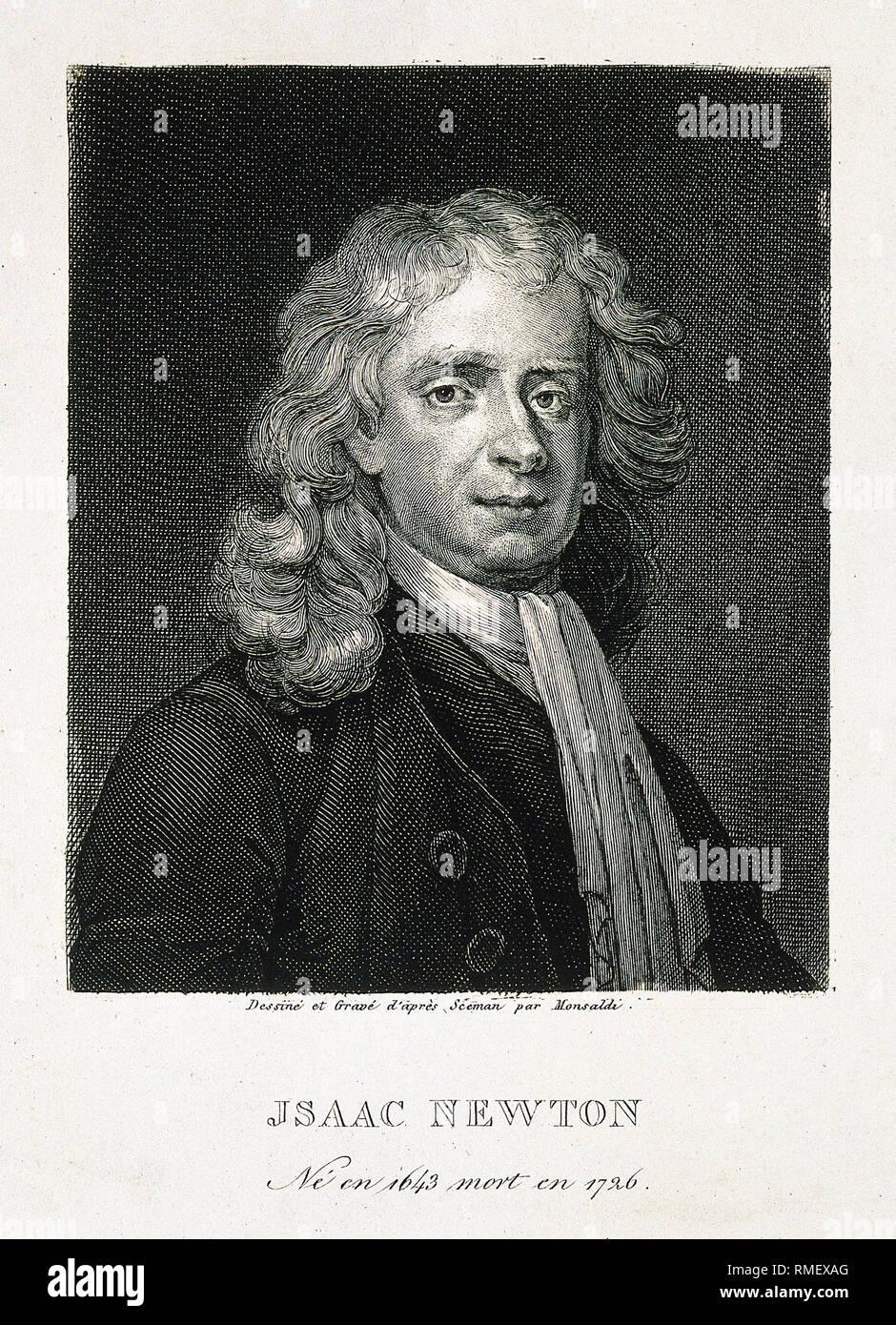 Sir Isaac Newton, line engraving by A. M. Monsaldi after E. Seeman, 1726, portrait, print - Stock Image
