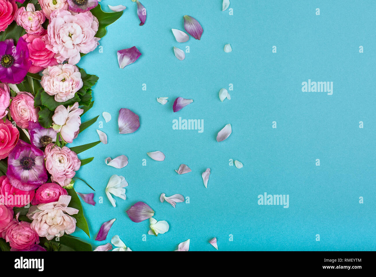 Beautiful Floral Background Texture Wallpaper Flat Lay Of Pink