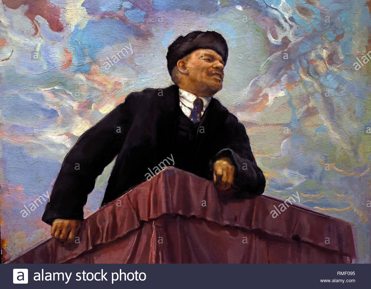 Lenin on the Rostrum ( Lenin at the tribune ) 1927 by ISAAC BRODSKY. Soviet Union Communist Propaganda (Russia under Lenin and Stalin1921-1953 ). - Stock Image