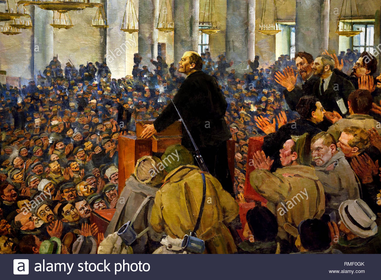 First Appearance of Lenin at a meeting in Smolny, the Petrograd Soviet on Oct.25, 1917, 1927, by Konstantin Youn. Soviet Union Communist Propaganda (Russia under Lenin and Stalin1921-1953 ). - Stock Image
