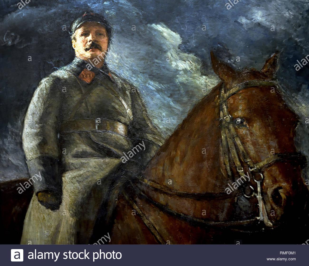 Mikhail Franze on Horseback 1927 by Vladimir Grinberg. Soviet Union Communist Propaganda (Russia under Lenin and Stalin1921-1953 ). - Stock Image
