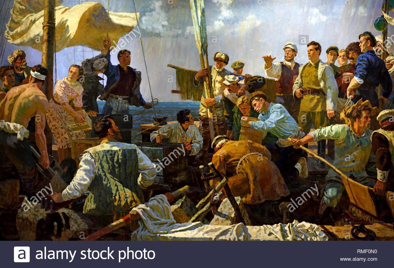 Sergei Korov in Astrakhan 1919 by V.G. Odintsov Soviet Union Communist Propaganda (Russia under Lenin and Stalin1921-1953 ). - Stock Image