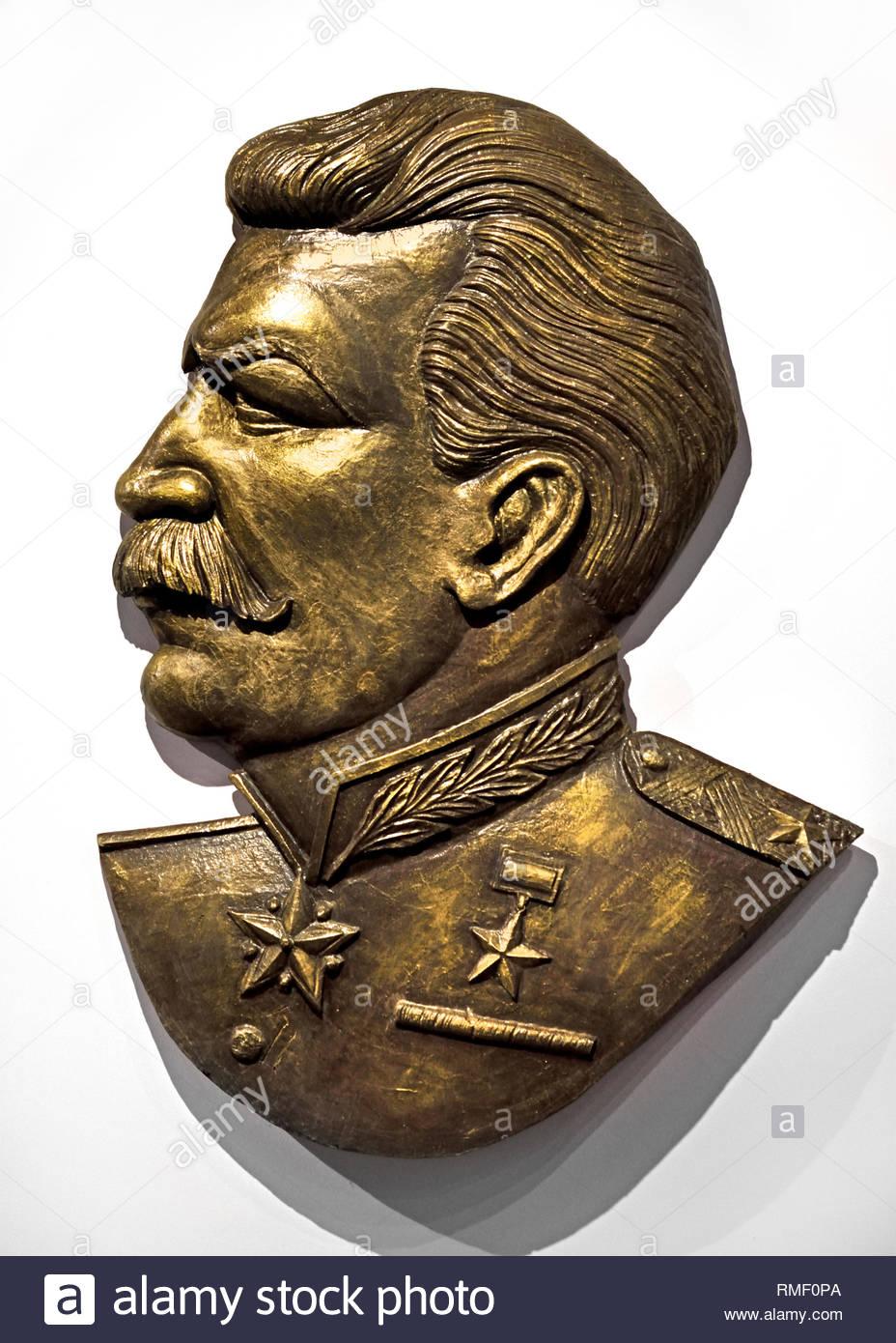 Joseph Stalin (bronze) Soviet Union Communist Propaganda (Russia under Lenin and Stalin1921-1953 ). - Stock Image