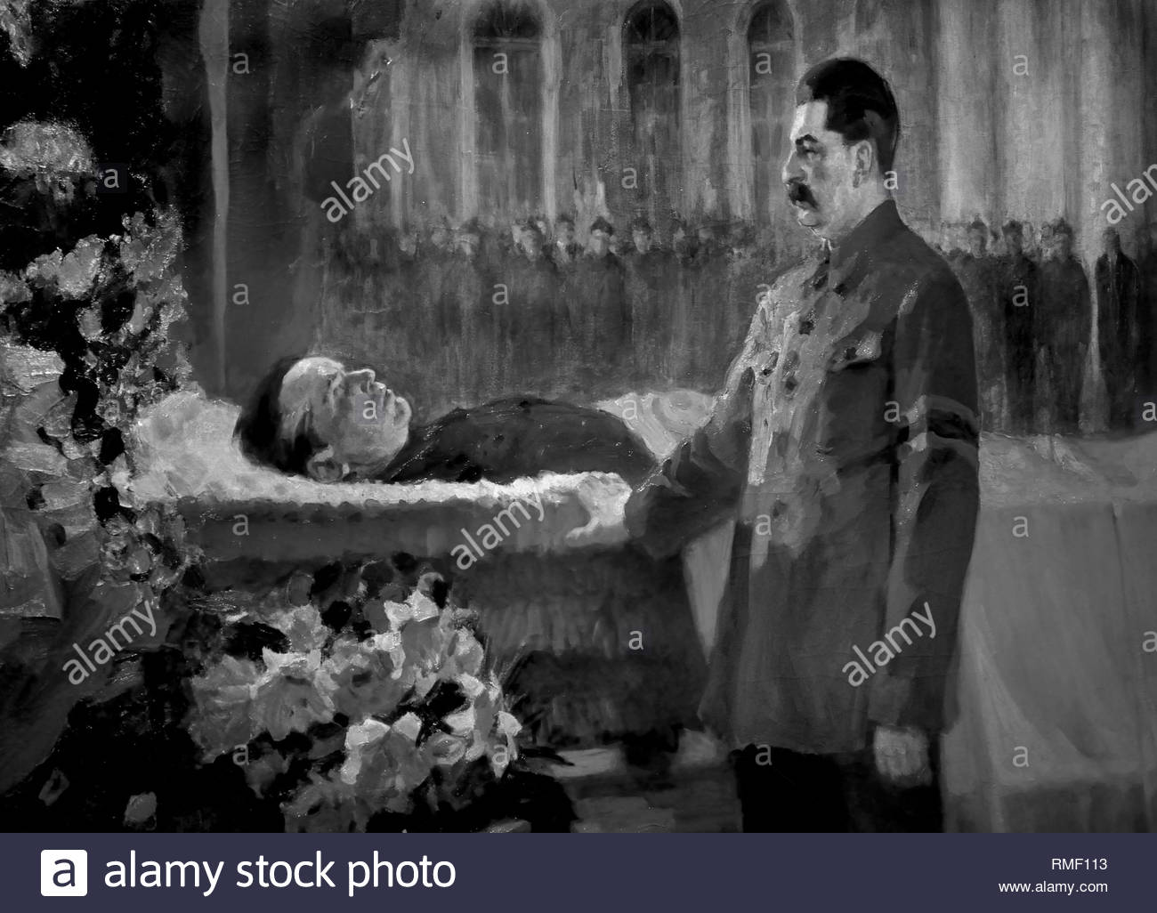 Joseph Stalin before Sergei Kirov's Coffin 1934 , 1937 by NIKOLAY RUTKOVSKY. Soviet Union Communist Propaganda (Russia under Lenin and Stalin1921-1953 ). Joseph Stalin before Sergei Kirov's Coffin', 1937. Artist: Nikolai Rutkovsky - Stock Image