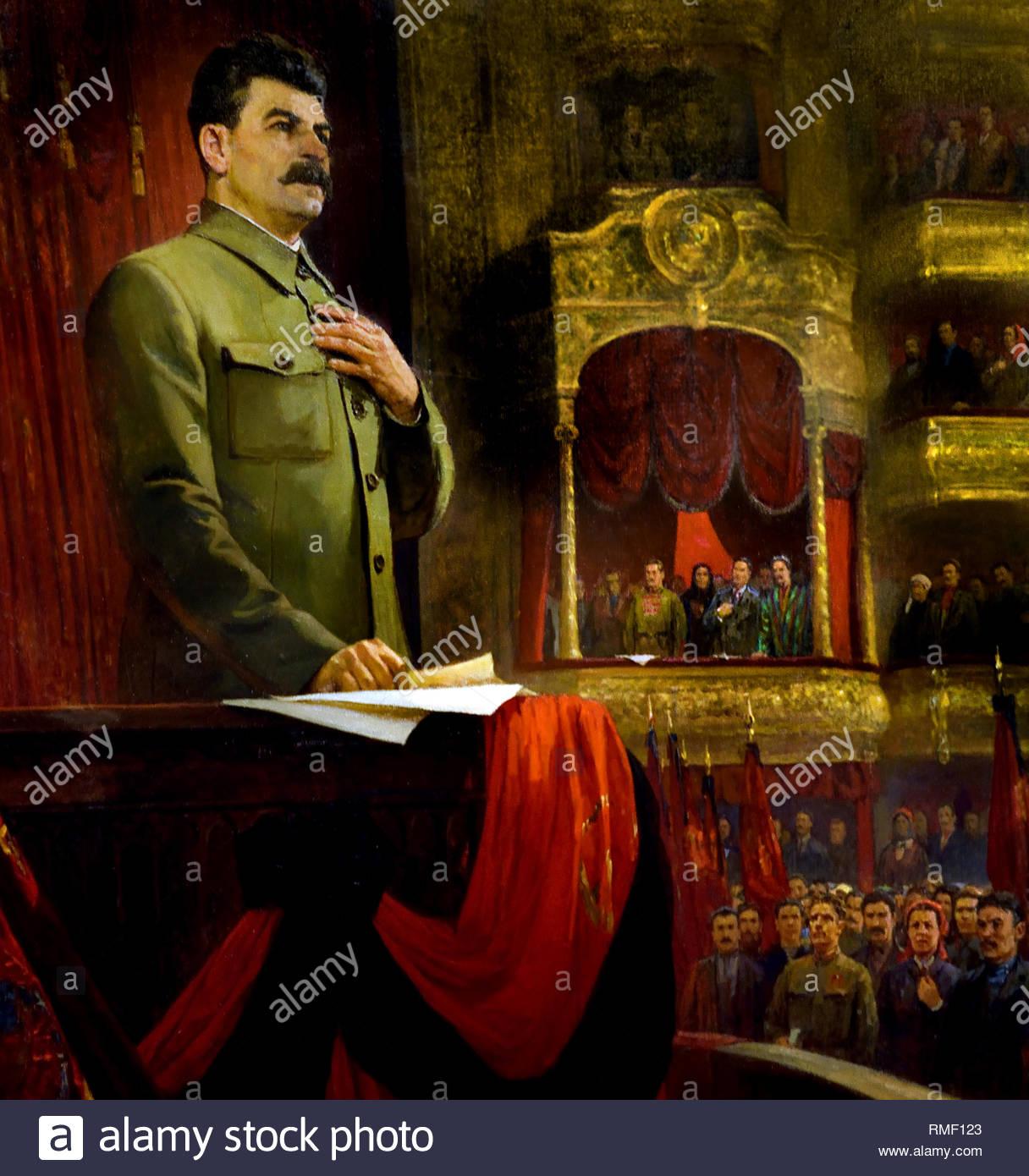 Formation of the USSR on December 30, 1922 Joseph Stalin. Soviet Union Communist Propaganda (Russia under Lenin and Stalin1921-1953 ). - Stock Image