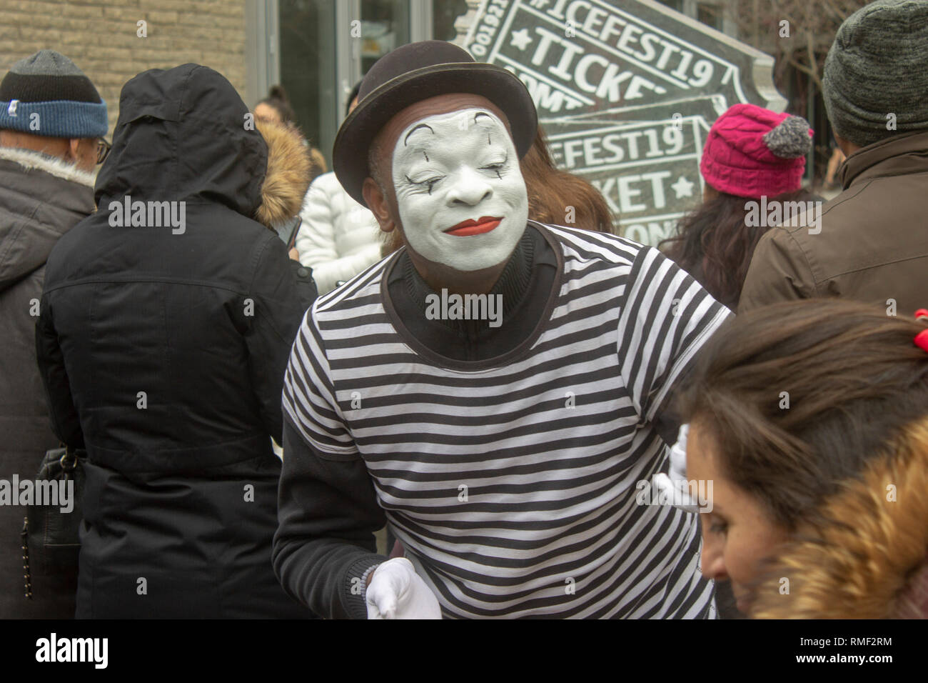 Street Mime performing at a festival - Stock Image